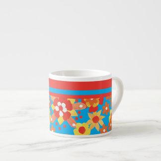 Espresso Mug with Ditsy Orange Flowers