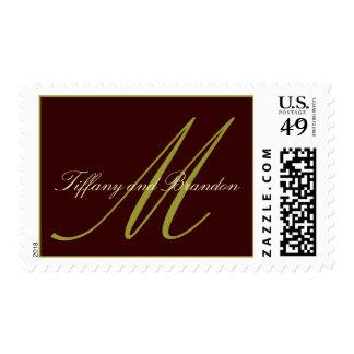 Espresso & Pistachio Monogram Custom Wedding Postage