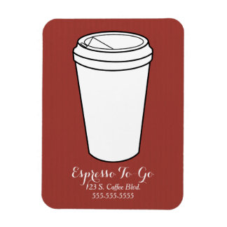 Espresso To-Go Business rust faux laid Rectangular Photo Magnet