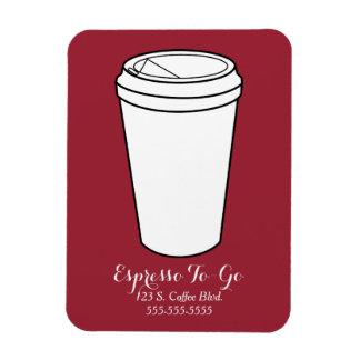 Espresso To-Go Business rust faux laid Rectangular Photo Magnet