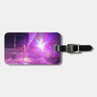 Espuma azul púrpura del laser etiquetas de maletas