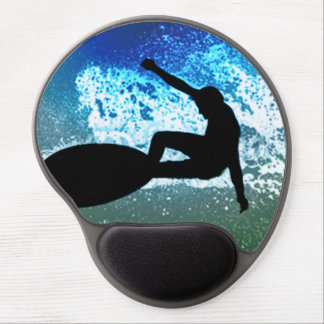Espuma azul y verde que practica surf alfombrilla con gel
