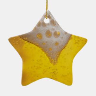 Espuma de la cerveza ligera adorno navideño de cerámica en forma de estrella