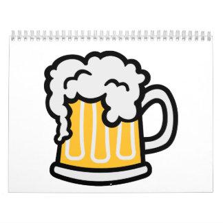Espuma del vidrio de cerveza calendario
