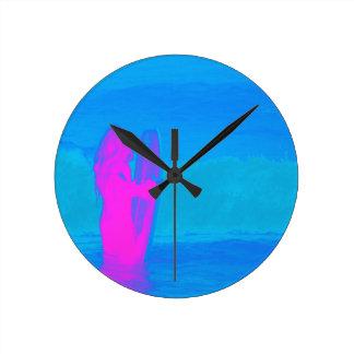 Espumejear el neón reloj redondo mediano