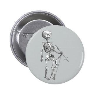 Esqueleto Archer del vintage Pin Redondo De 2 Pulgadas