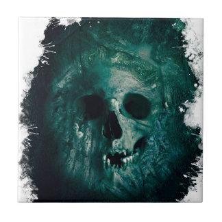 Esqueleto asustadizo de la cara del cráneo del azulejo cuadrado pequeño