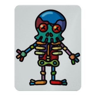 """esqueleto colorido invitación 4.25"""" x 5.5"""""""
