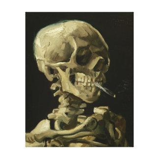 Esqueleto con el cigarrillo de Van Gogh Impresion De Lienzo