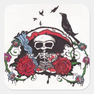 Esqueleto con los cuervos pegatina cuadrada
