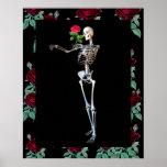 Esqueleto de Halloween con el rosa Poster