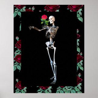 Esqueleto de Halloween con el rosa Póster