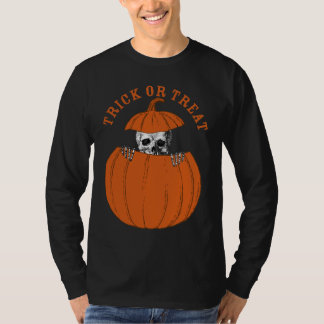 Esqueleto de Halloween del truco o de la Playera