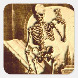 Esqueleto de Halloween Pegatina Cuadrada