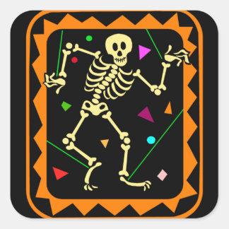 Esqueleto de la marioneta pegatina cuadradas personalizada