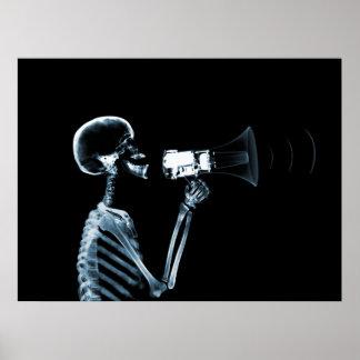 ESQUELETO DE LA RADIOGRAFÍA EN EL MEGÁFONO - AZUL IMPRESIONES