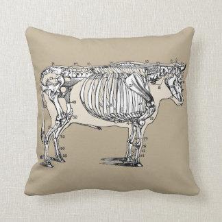 Esqueleto de la vaca del vintage cojin