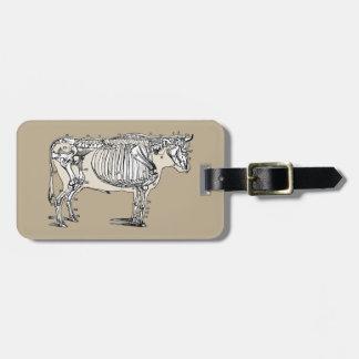Esqueleto de la vaca del vintage etiquetas bolsas