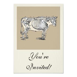 """Esqueleto de la vaca del vintage invitación 5"""" x 7"""""""