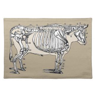 Esqueleto de la vaca del vintage manteles