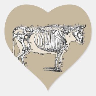 Esqueleto de la vaca del vintage pegatina en forma de corazón