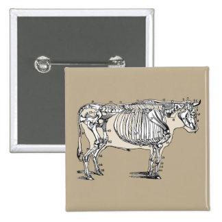 Esqueleto de la vaca del vintage pin cuadrada 5 cm