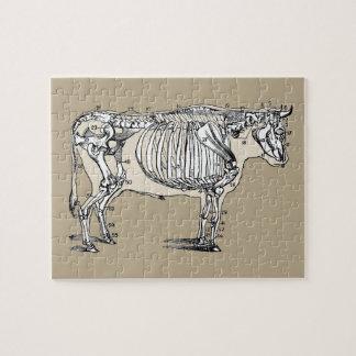 Esqueleto de la vaca del vintage rompecabeza