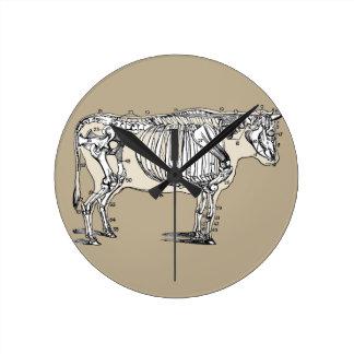 Esqueleto de la vaca del vintage reloj redondo mediano