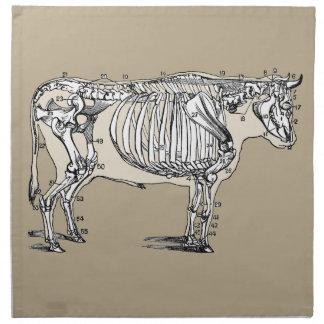 Esqueleto de la vaca del vintage servilletas