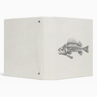 """Esqueleto de los pescados de la perca del vintage carpeta 1 1/2"""""""