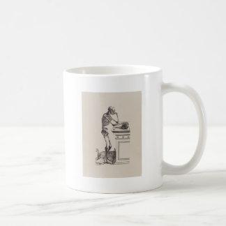 Esqueleto de pensamiento taza de café