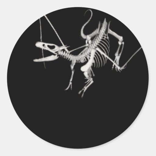 esqueleto de semitono 2 del dragón de vuelo 3D Pegatina Redonda
