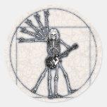 Esqueleto de Vitruvian Etiquetas Redondas
