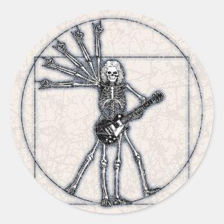 Esqueleto de Vitruvian Pegatina Redonda
