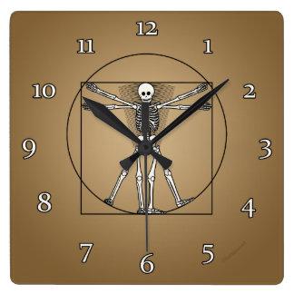 Esqueleto de Vitruvian Reloj Cuadrado