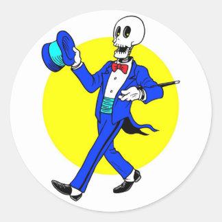 Esqueleto del baile pegatina redonda