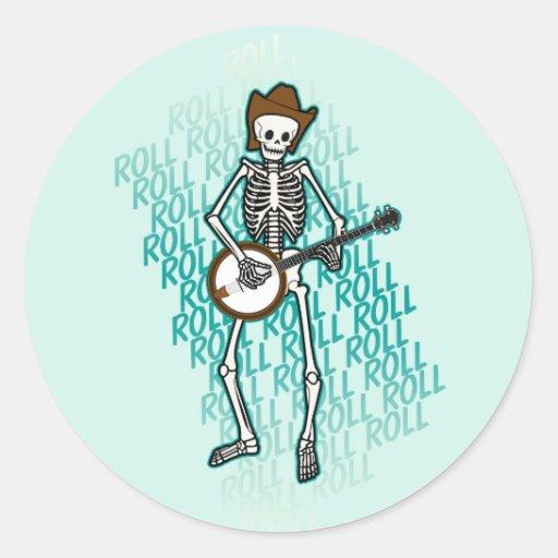 Esqueleto del banjo del Bluegrass Pegatina Redonda