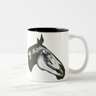 Esqueleto del caballo taza de café de dos colores