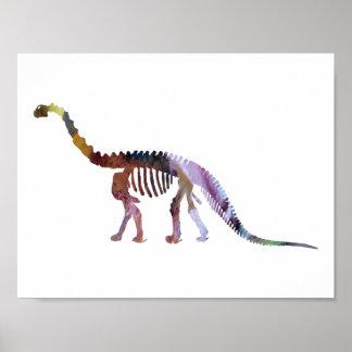 esqueleto del camarasaurus póster
