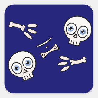 Esqueleto del dibujo animado calcomanías cuadradass