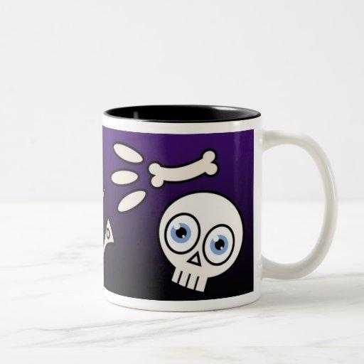 Esqueleto del dibujo animado taza de dos tonos