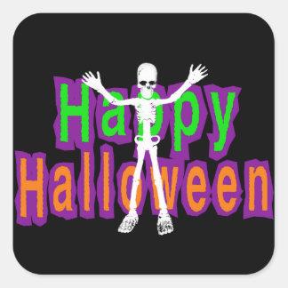 Esqueleto del feliz Halloween Pegatina Cuadrada