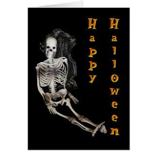 Esqueleto del feliz Halloween Tarjetón