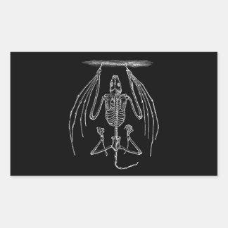 Esqueleto del palo del vintage - palos y plantilla rectangular pegatina