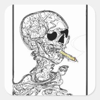 Esqueleto del tabaquismo calcomanías cuadradases