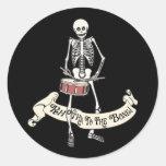 Esqueleto del tambor etiquetas redondas