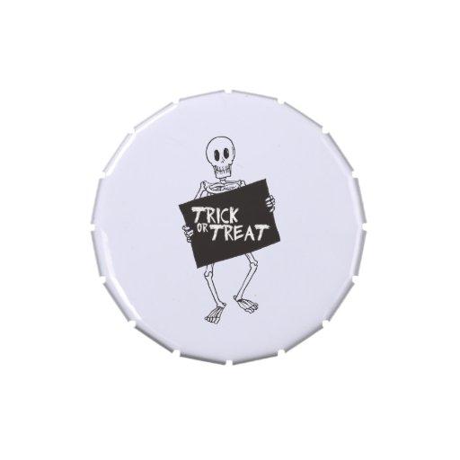 Esqueleto del truco o de la invitación frascos de caramelos