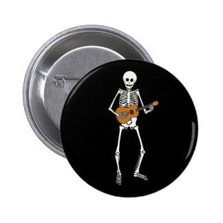 Esqueleto del Ukulele Pin Redondo De 2 Pulgadas