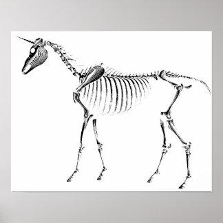 Esqueleto del unicornio póster