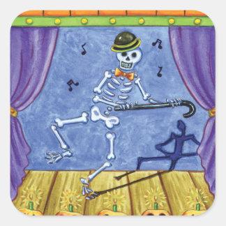 Esqueleto del vodevil pegatina cuadrada